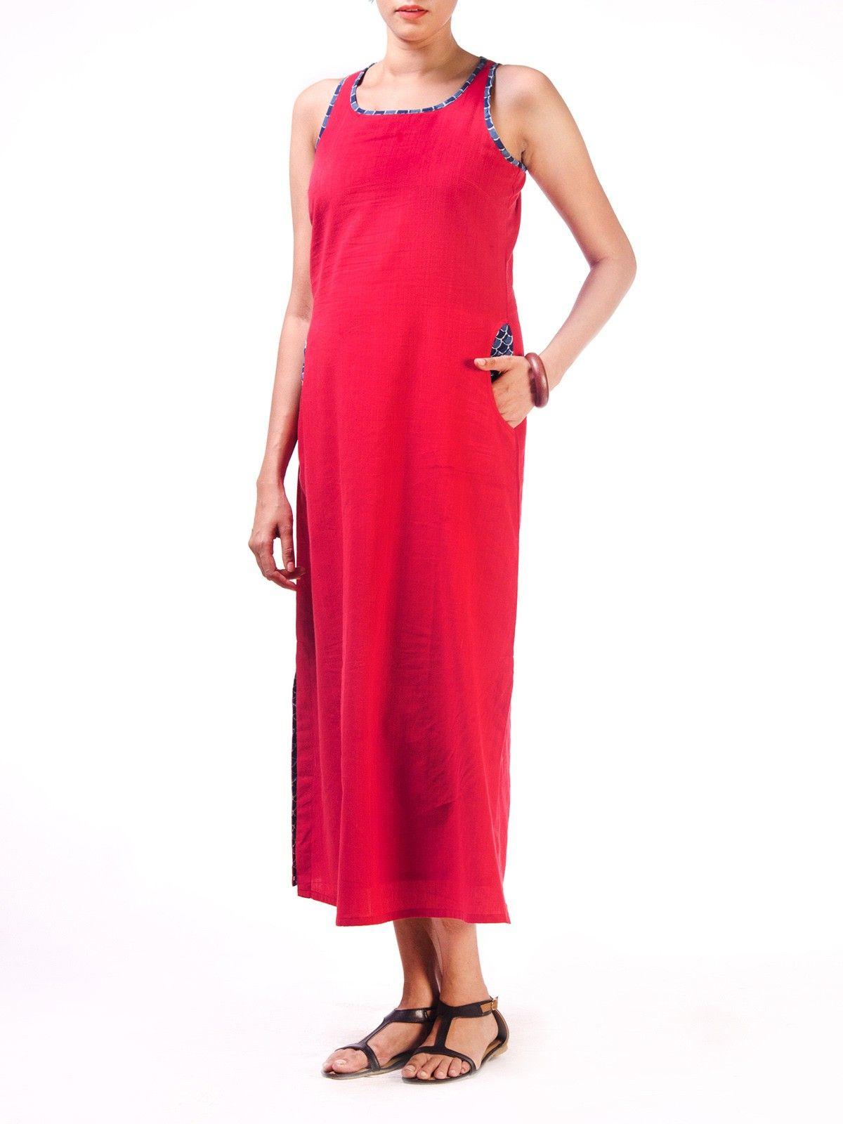Coral Long Razerback Long Dress with Block Printed Pocket Detail