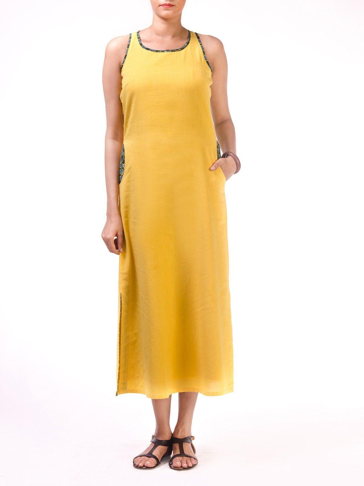 Yellow Long Razerback Long Dress with Block Printed Pocket Detail