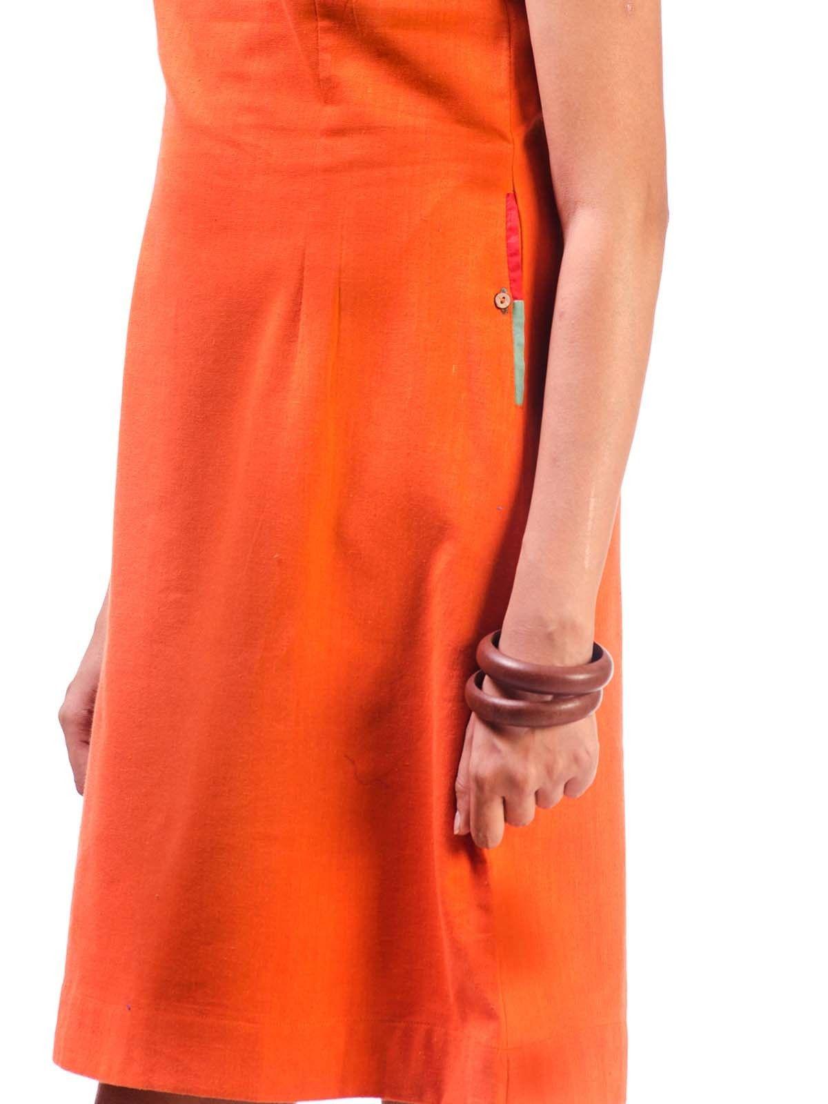 Orange Cotton Short Dress with Pocket Detail