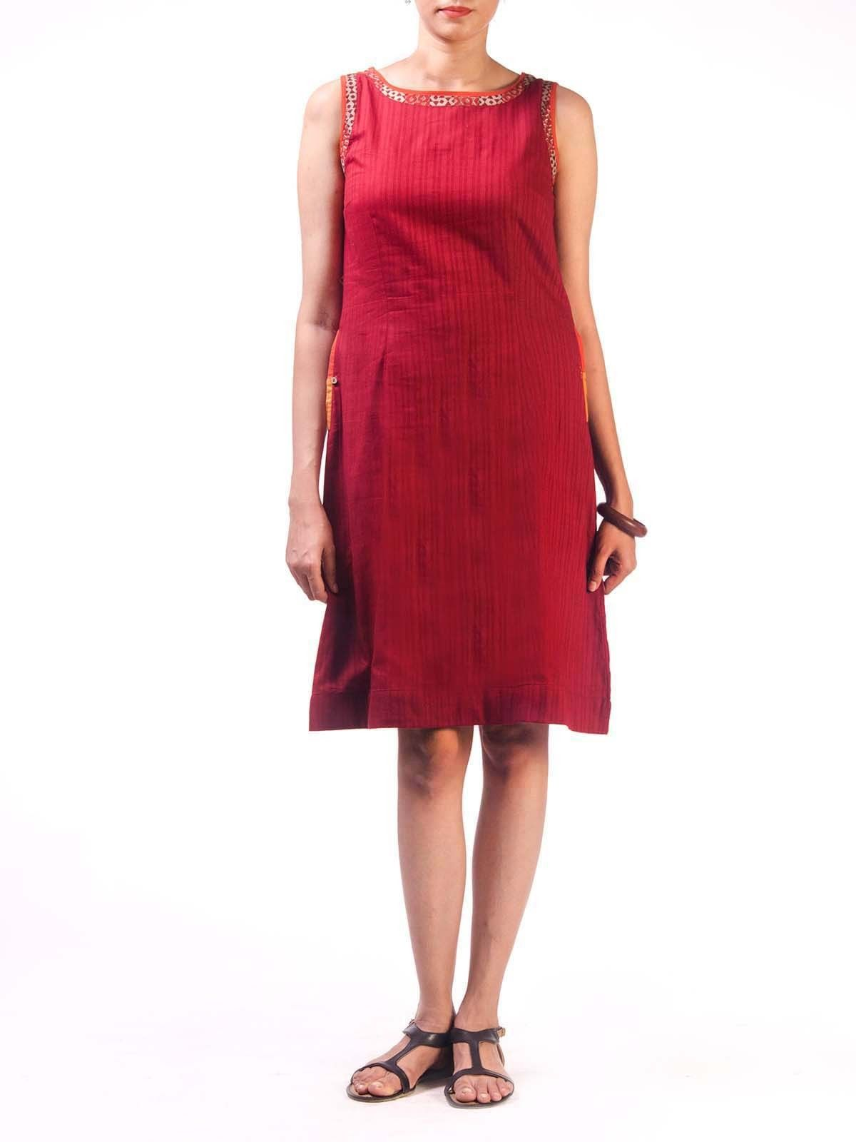 Maroon Cotton Short Dress with Pocket Detail