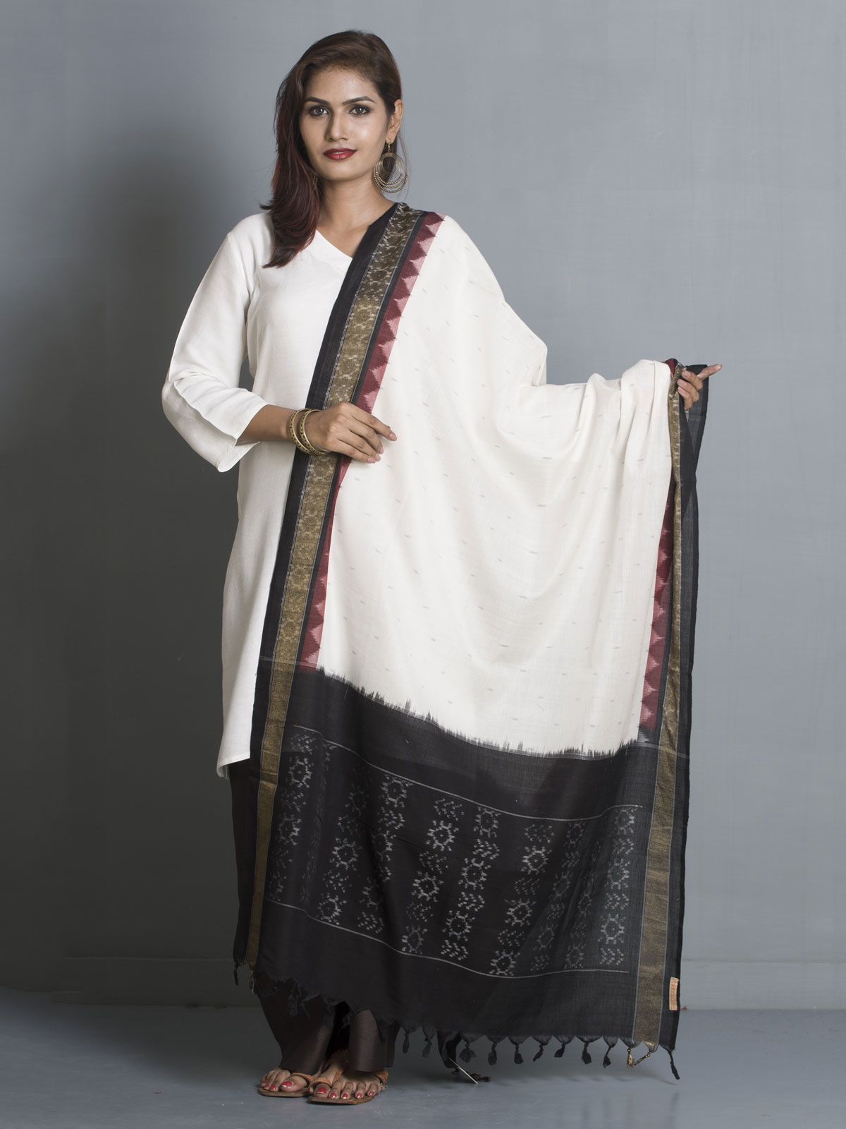 Black & white ikat cotton dupatta