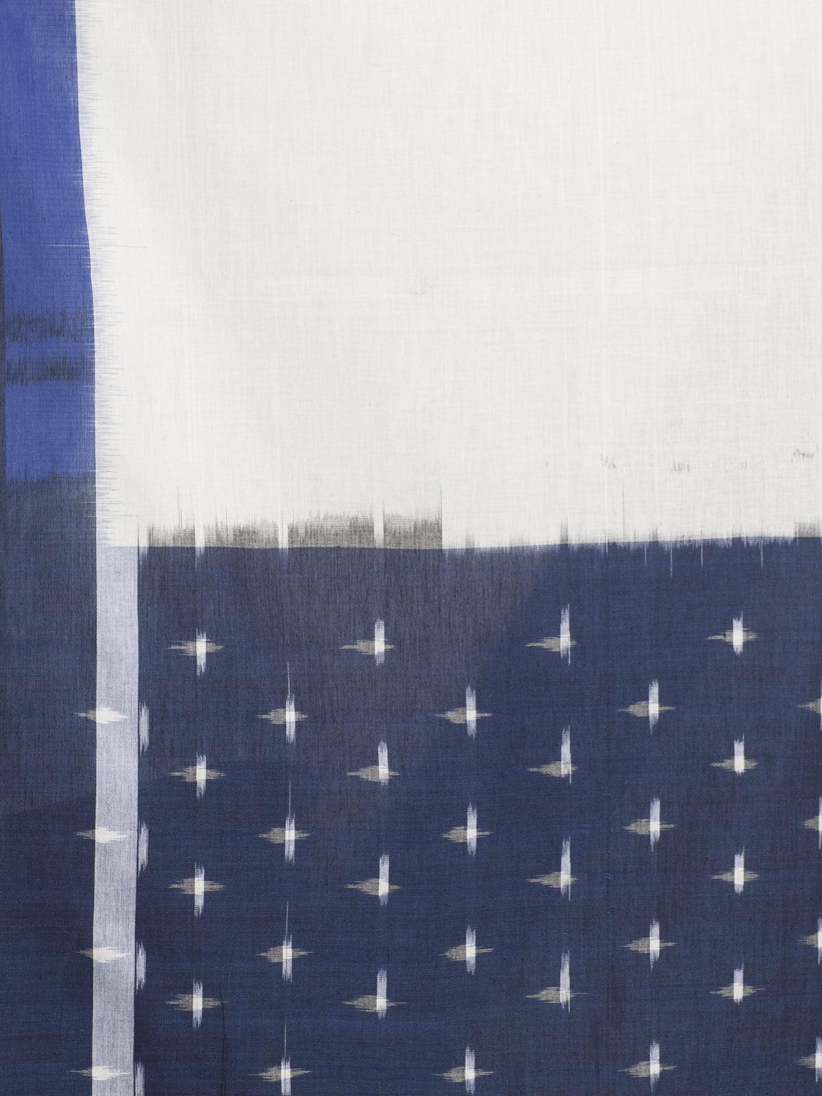 Blue & white ikat cotton dupatta