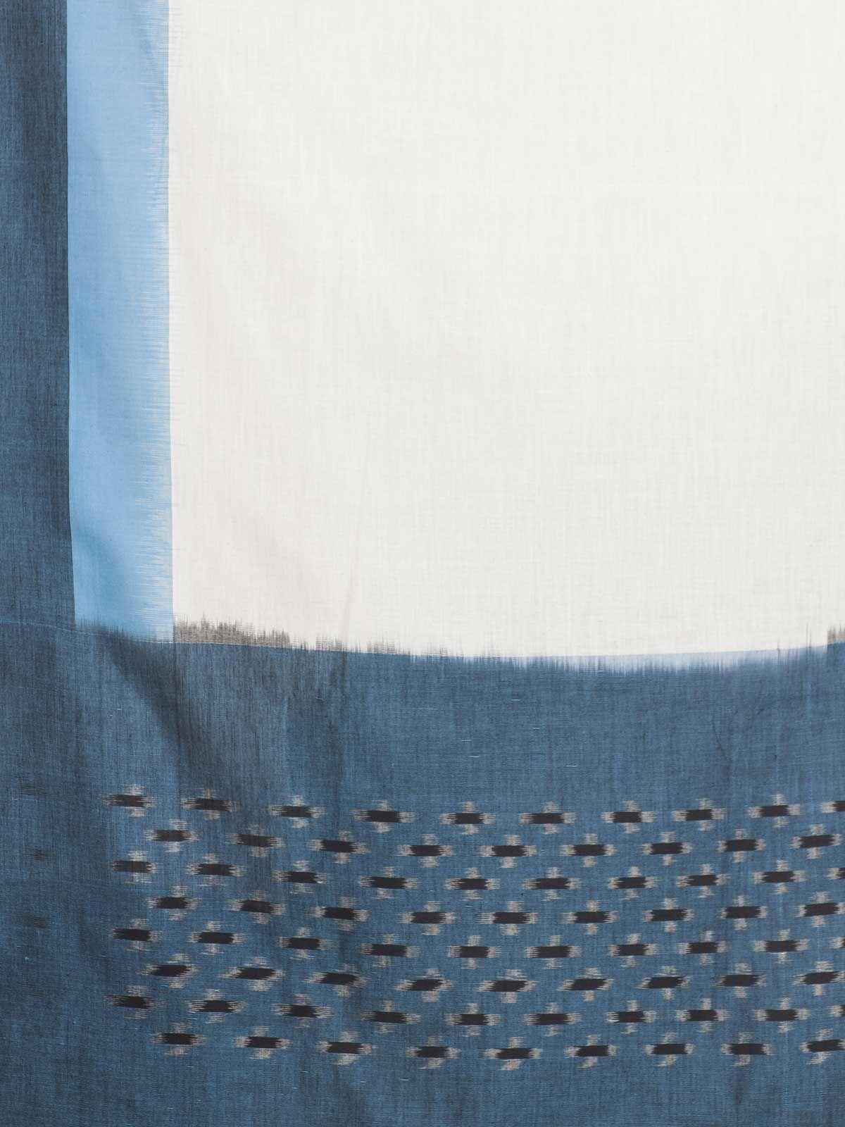 Teal blue ikat cotton dupatta