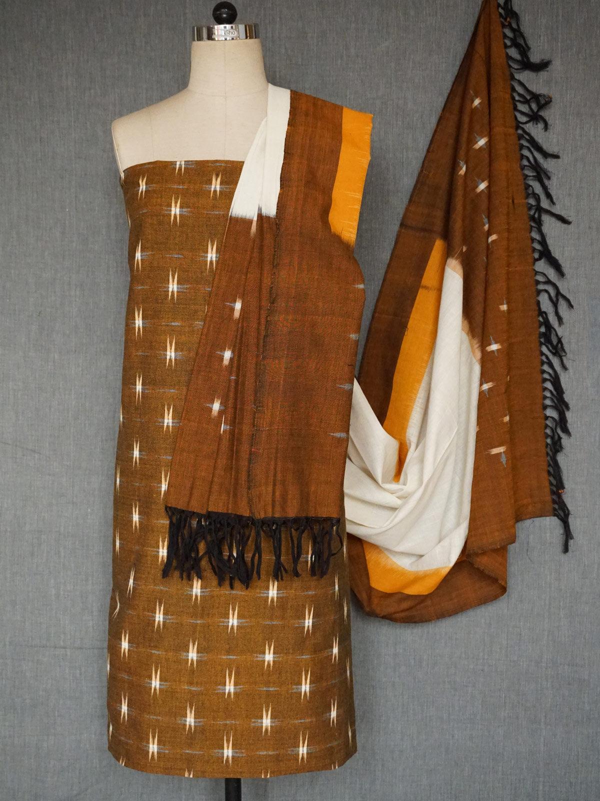 Mustard cotton ikat dress material with dupatta set of 2