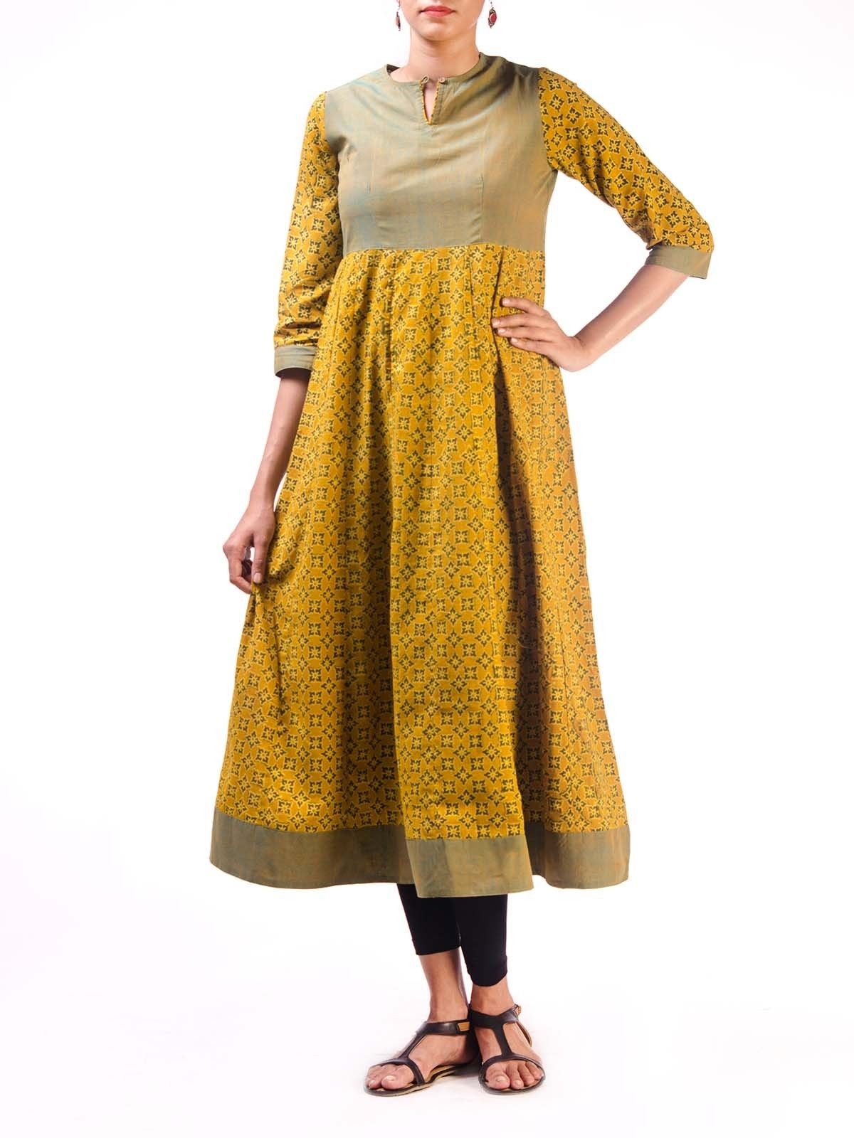 Yellow Ajrak Anarkali Kurta with Mangalgiri Bodice