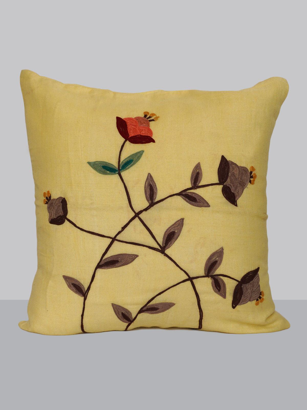 Yelloiw aari work silk floral pattern cushion cover
