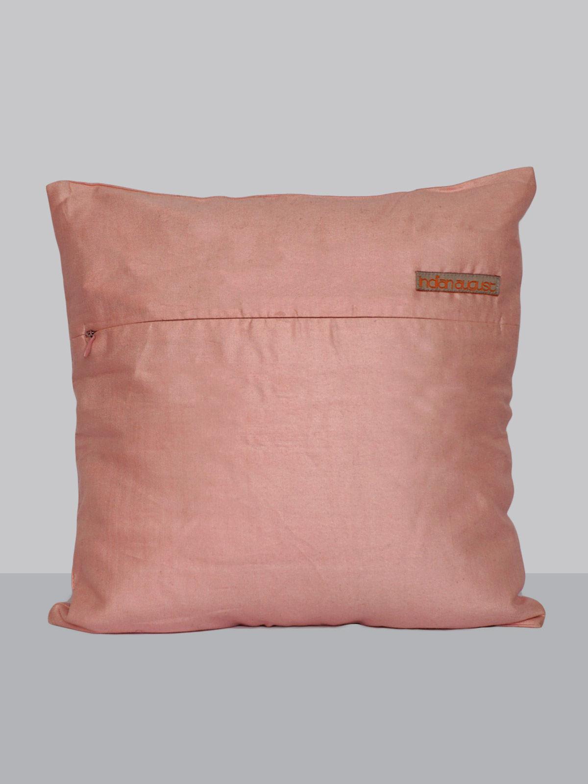 Pink aari work silk cushion cover