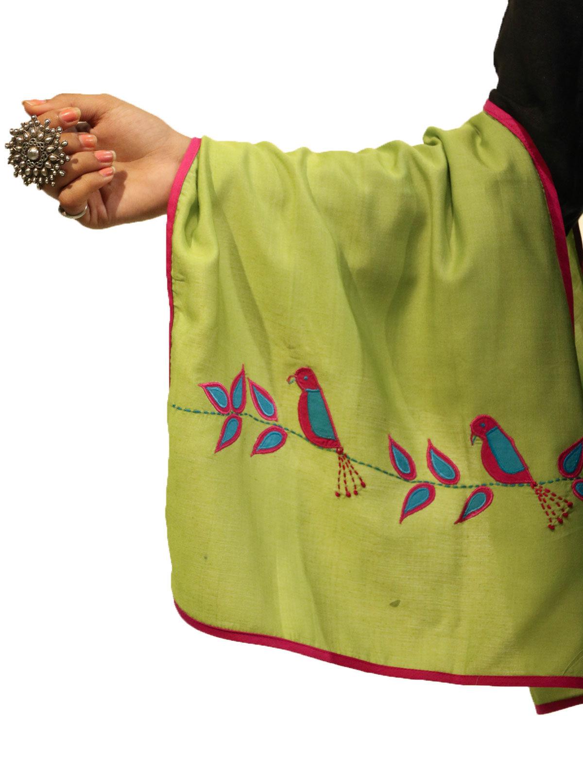 Green color applique bird motif cotton silk stole