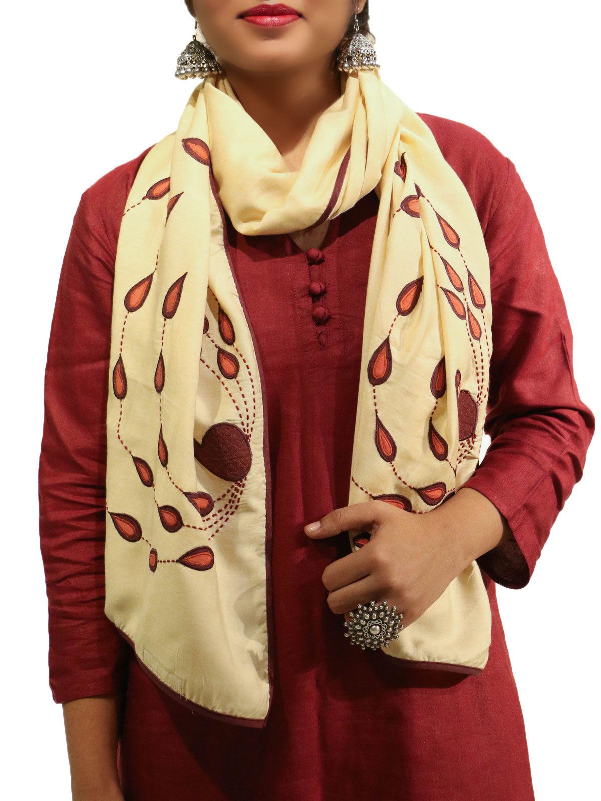 Beige color applique bird motif cotton silk stole