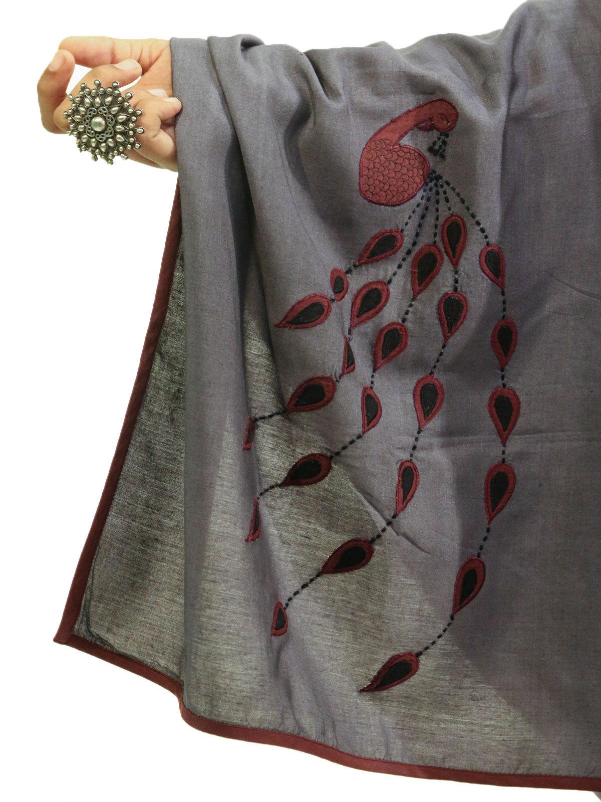 Grey color applique bird motif cotton silk stole