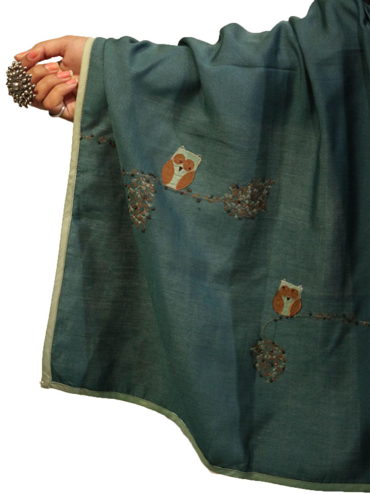 Dark Green color applique bird motif cotton silk stole