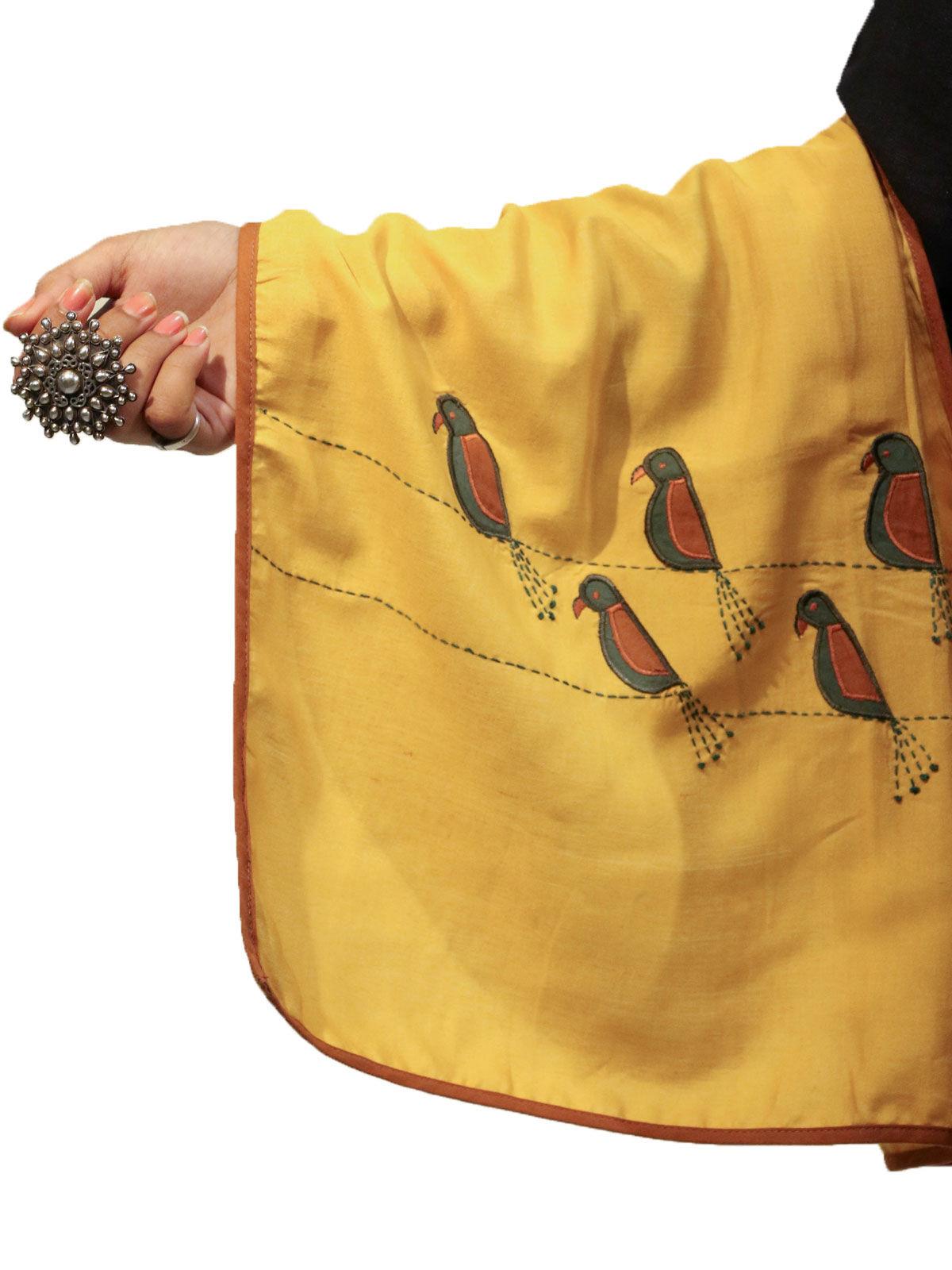 Yellow color applique bird motif cotton silk stole