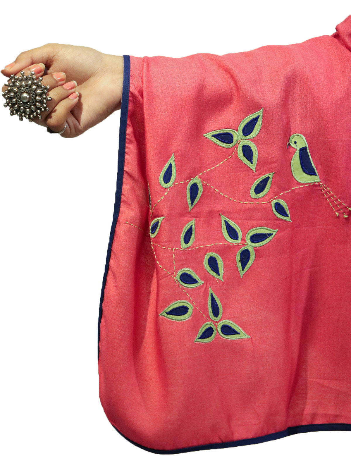 Red color applique bird motif cotton silk stole