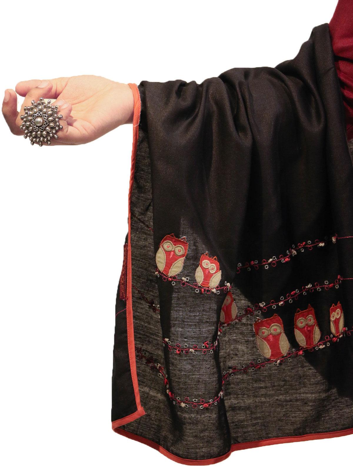 Black color applique bird motif cotton silk stole