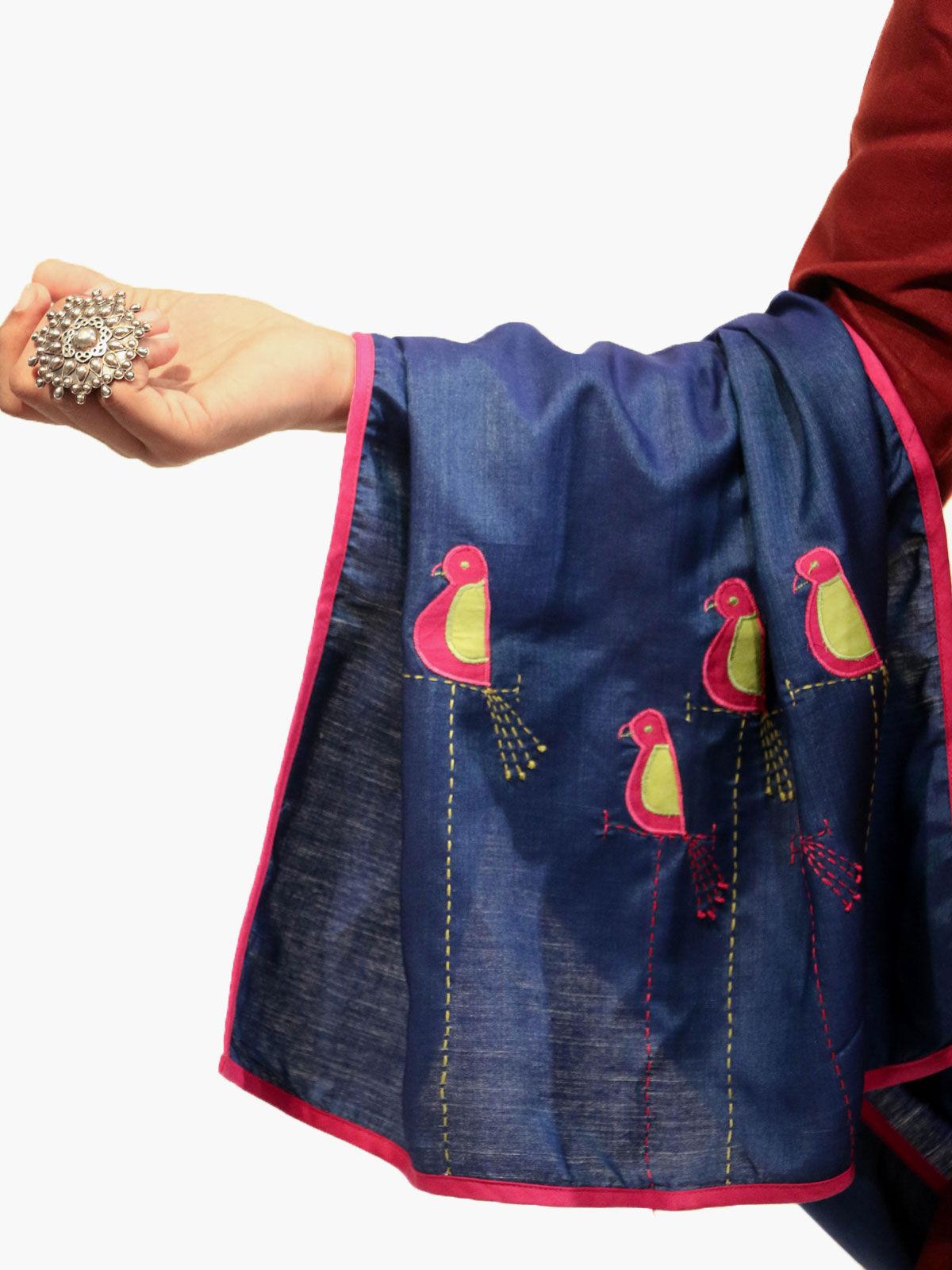 Navy Blue color applique bird motif cotton silk stole