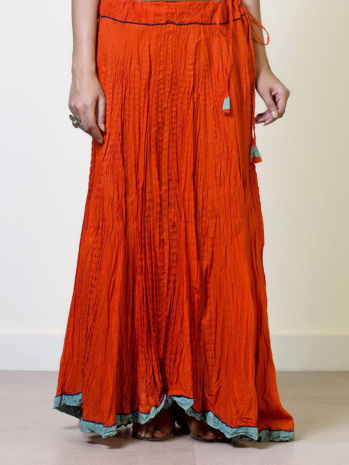 Tangerine Crushed Cotton Circular Skirt