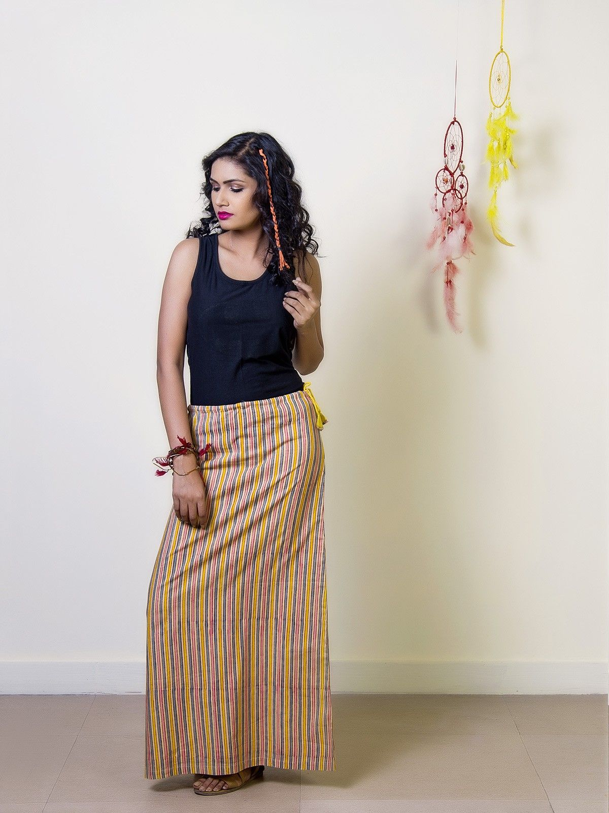 Mustard Sripes Cotton Straight Maxi Skirt