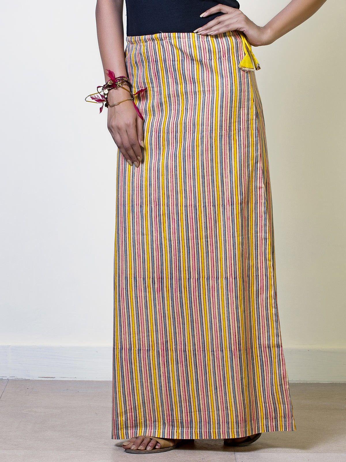 Mustard Sripes Cotton Straight Maxi Skirt