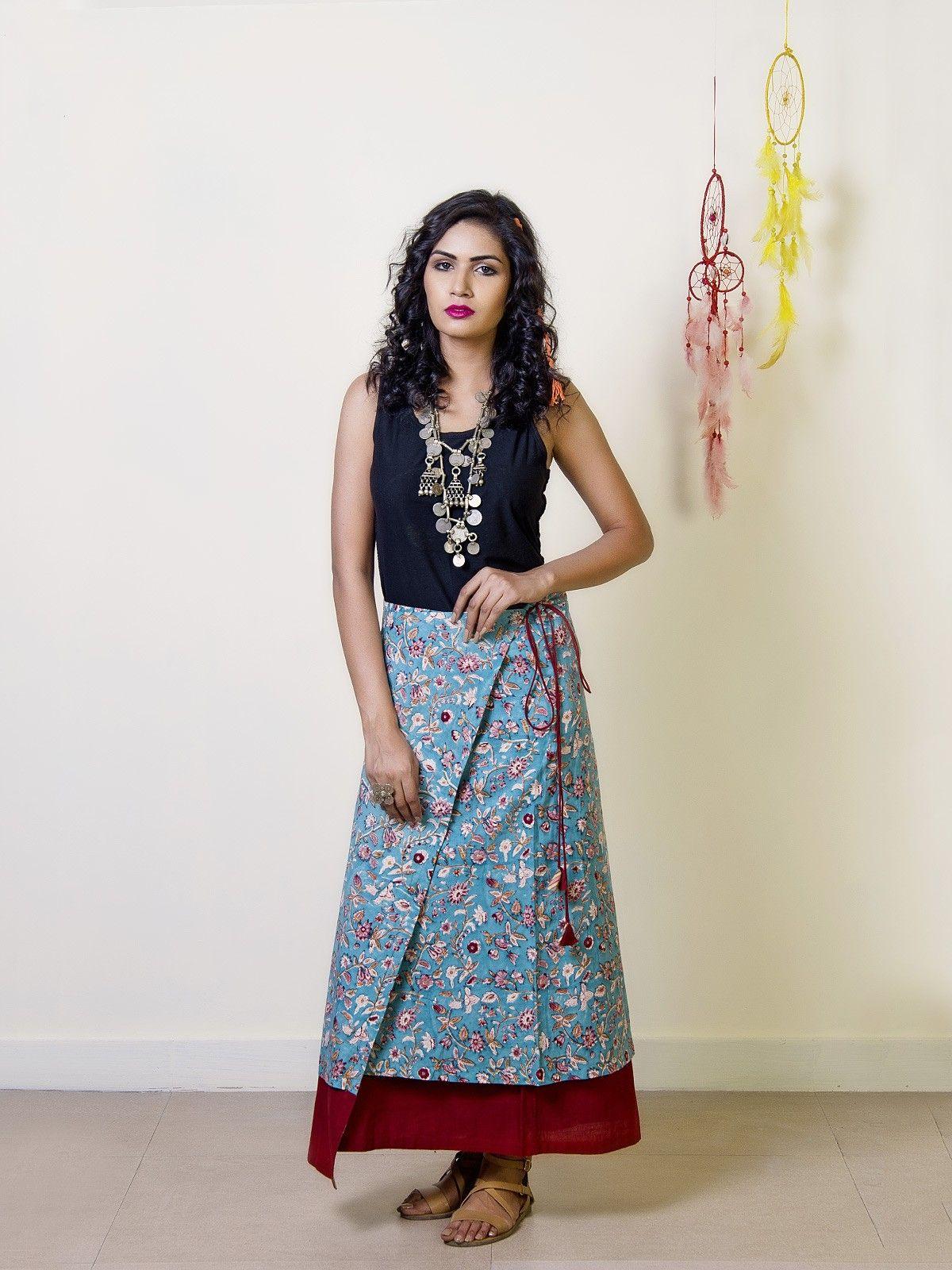 Garnet Cotton Reversible Wrap Skirt