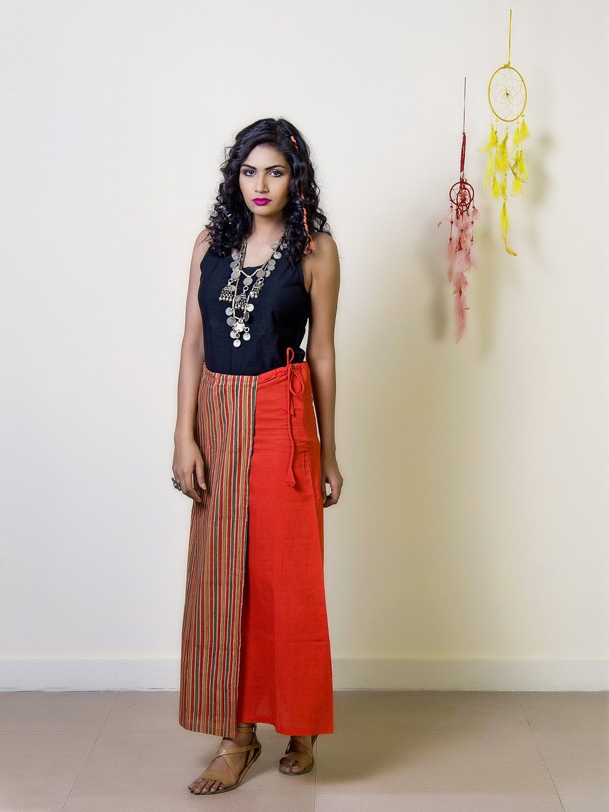 Tangerine Cotton Straight Maxi Skirt