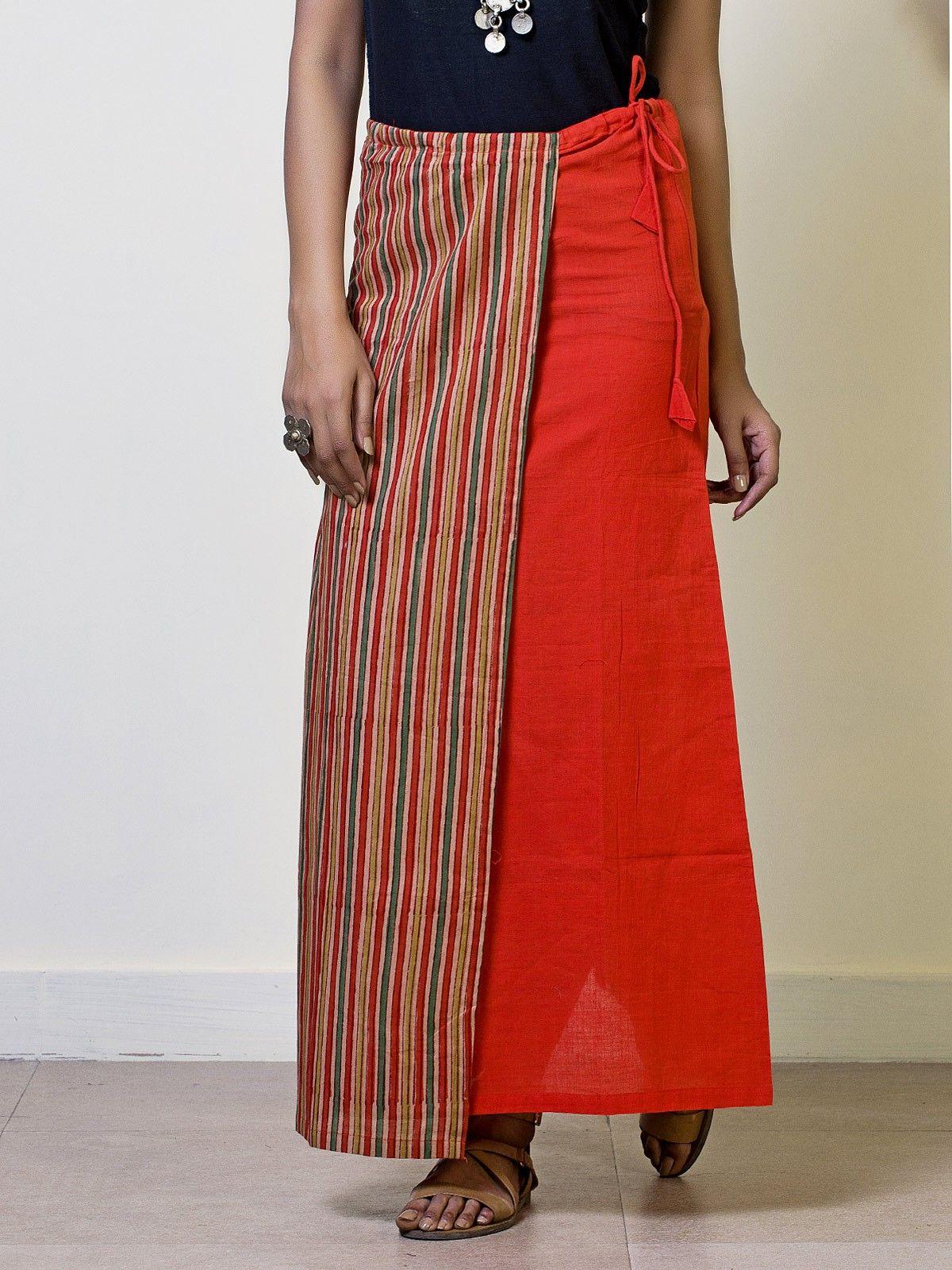 Tangerine Cotton Straight Maxi Skirt