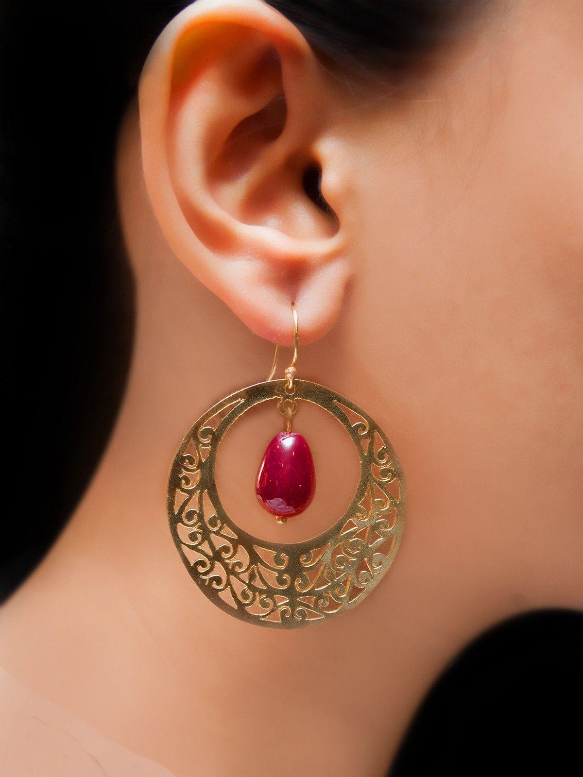 Maroon full moon earrings