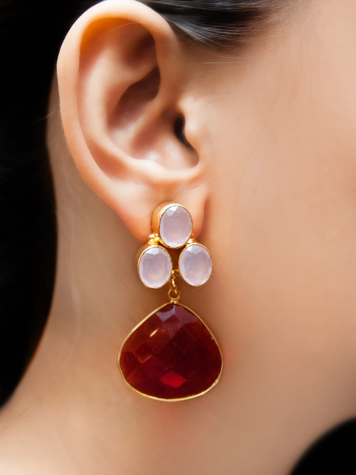 Red lava earrings