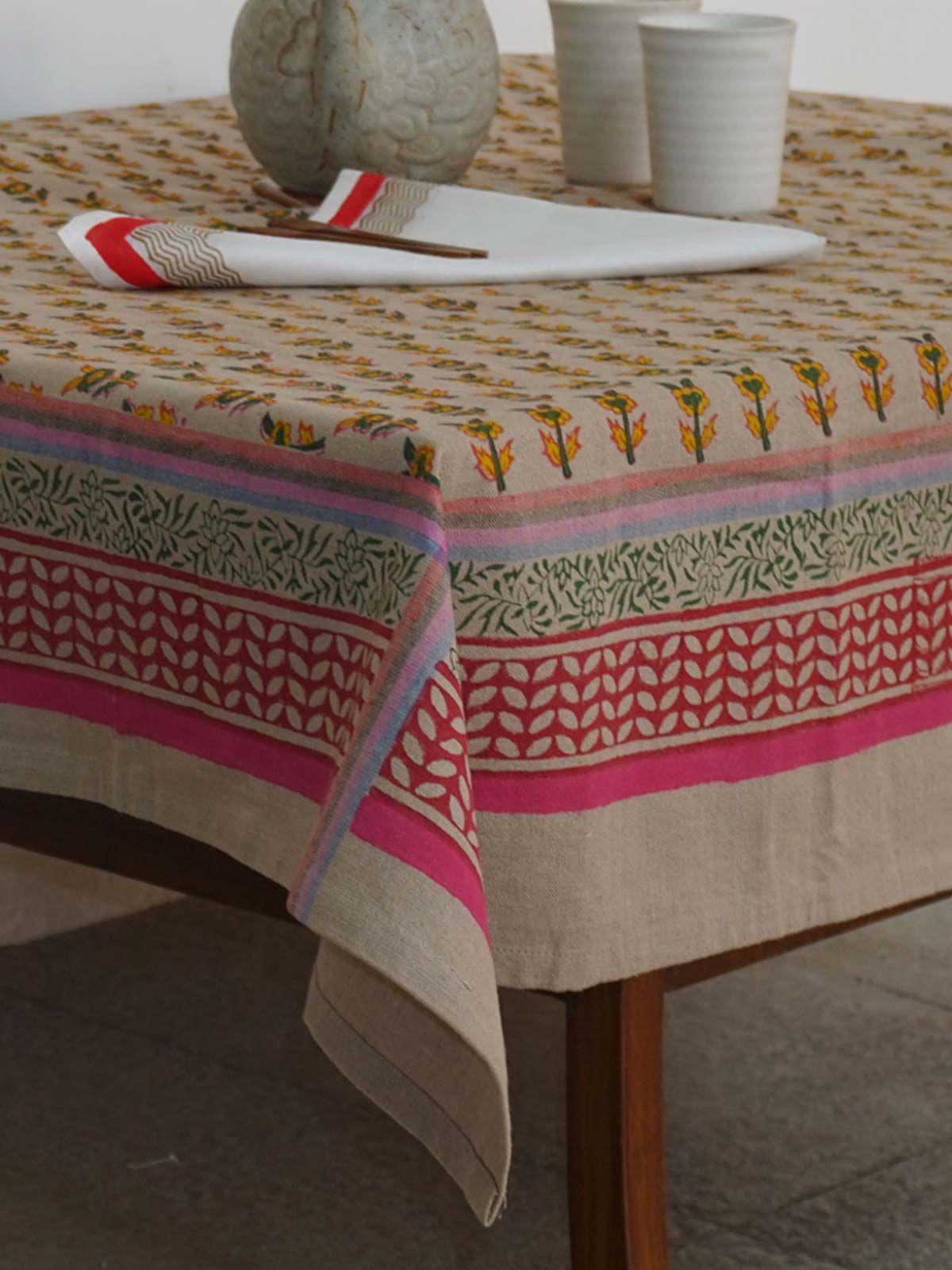 Sale Beige Cotton Handblock Printed Table Cloth ...