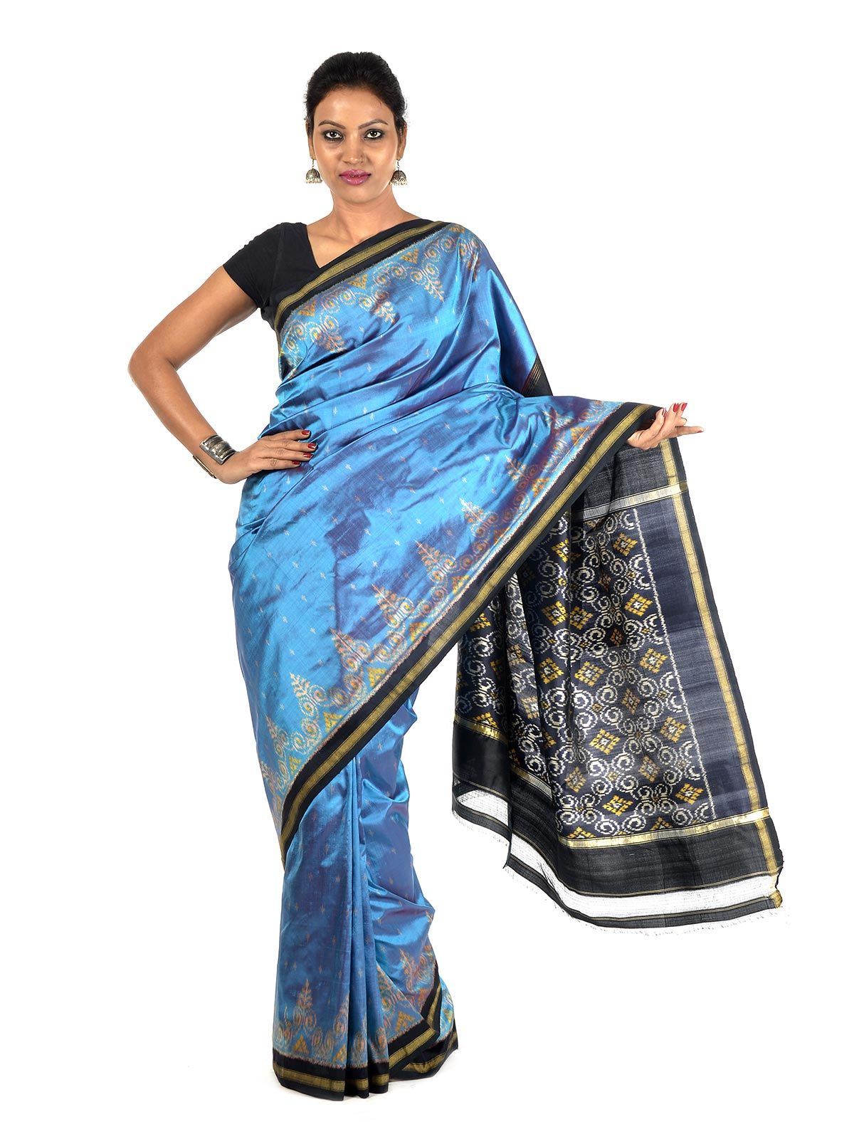 Sapphire and Black Ikat Silk Saree