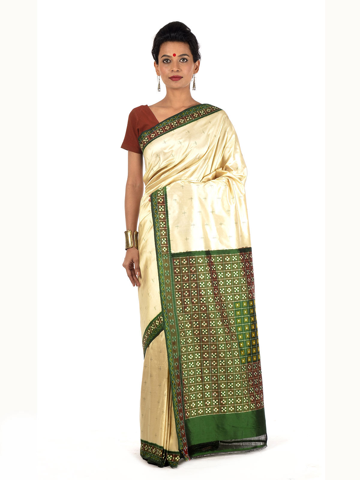 Off-white and Green Ikat Silk Saree