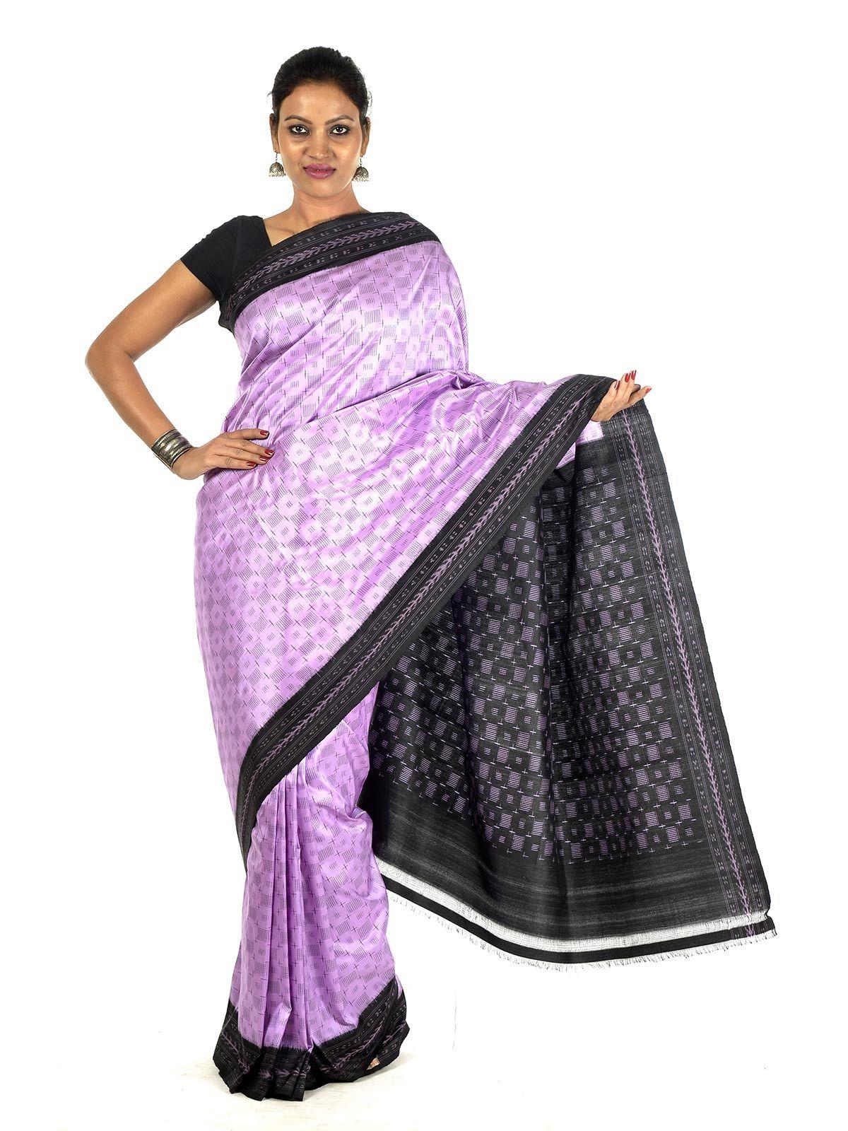 Lilac and Black Ikat Silk Saree