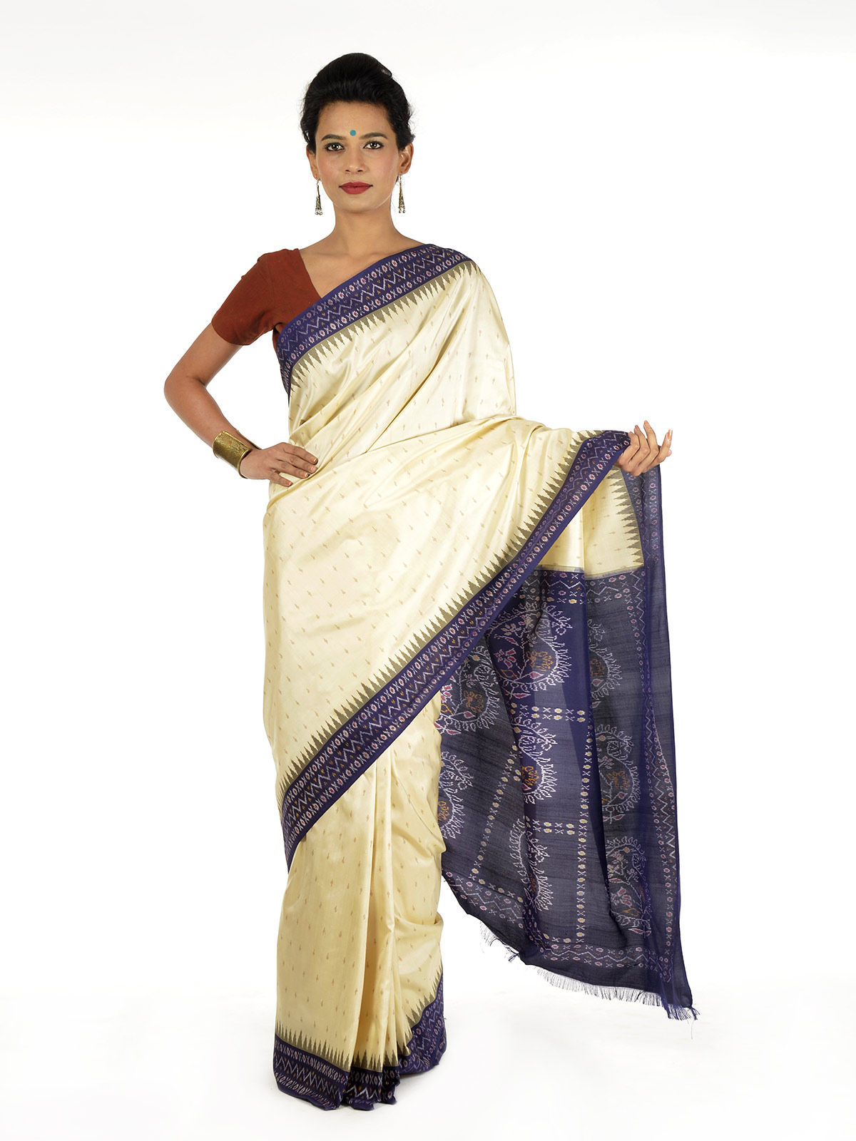 Off-white and Blue Ikat Silk Saree