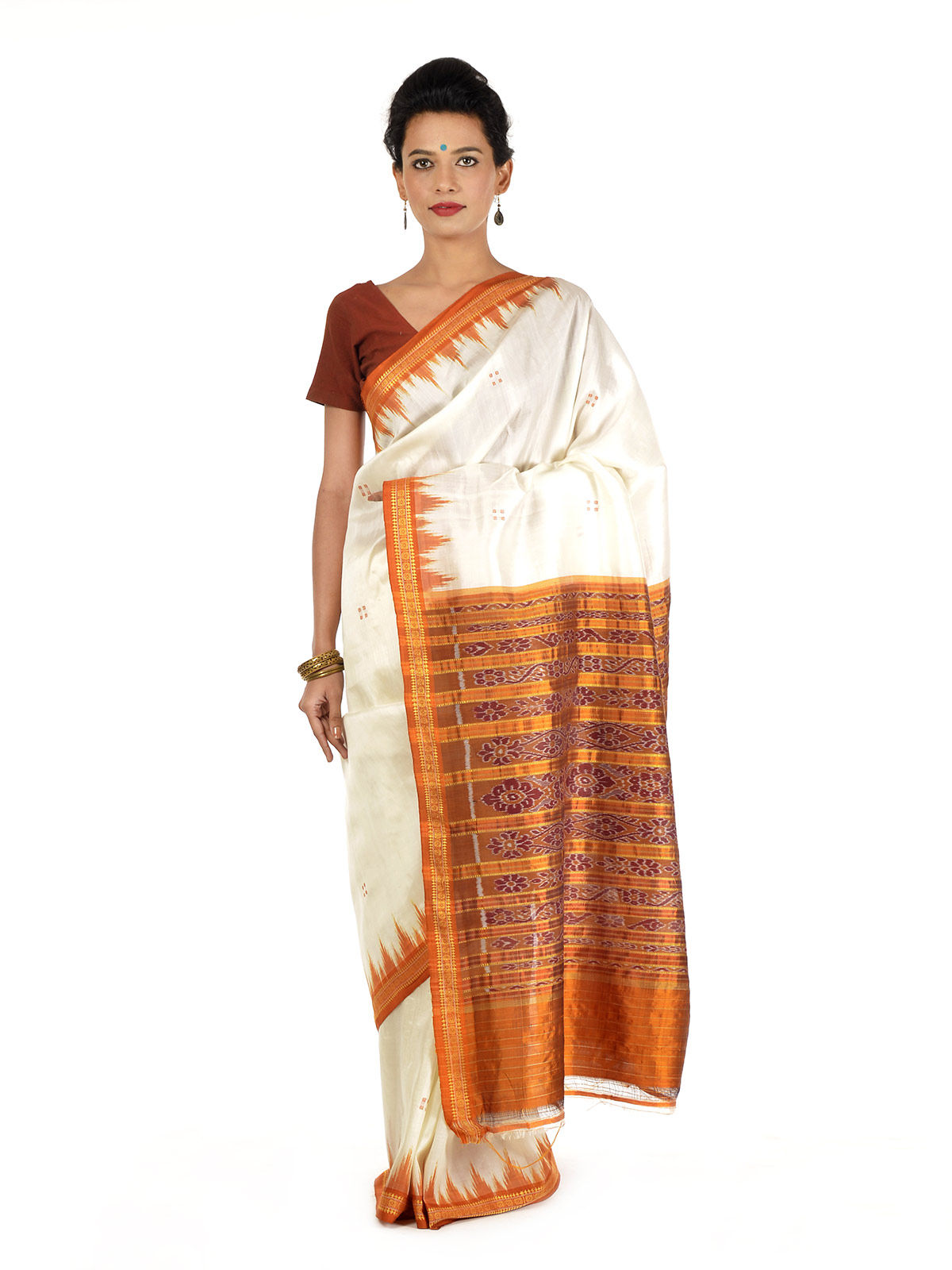 White and Ochre Ikat Silk Saree
