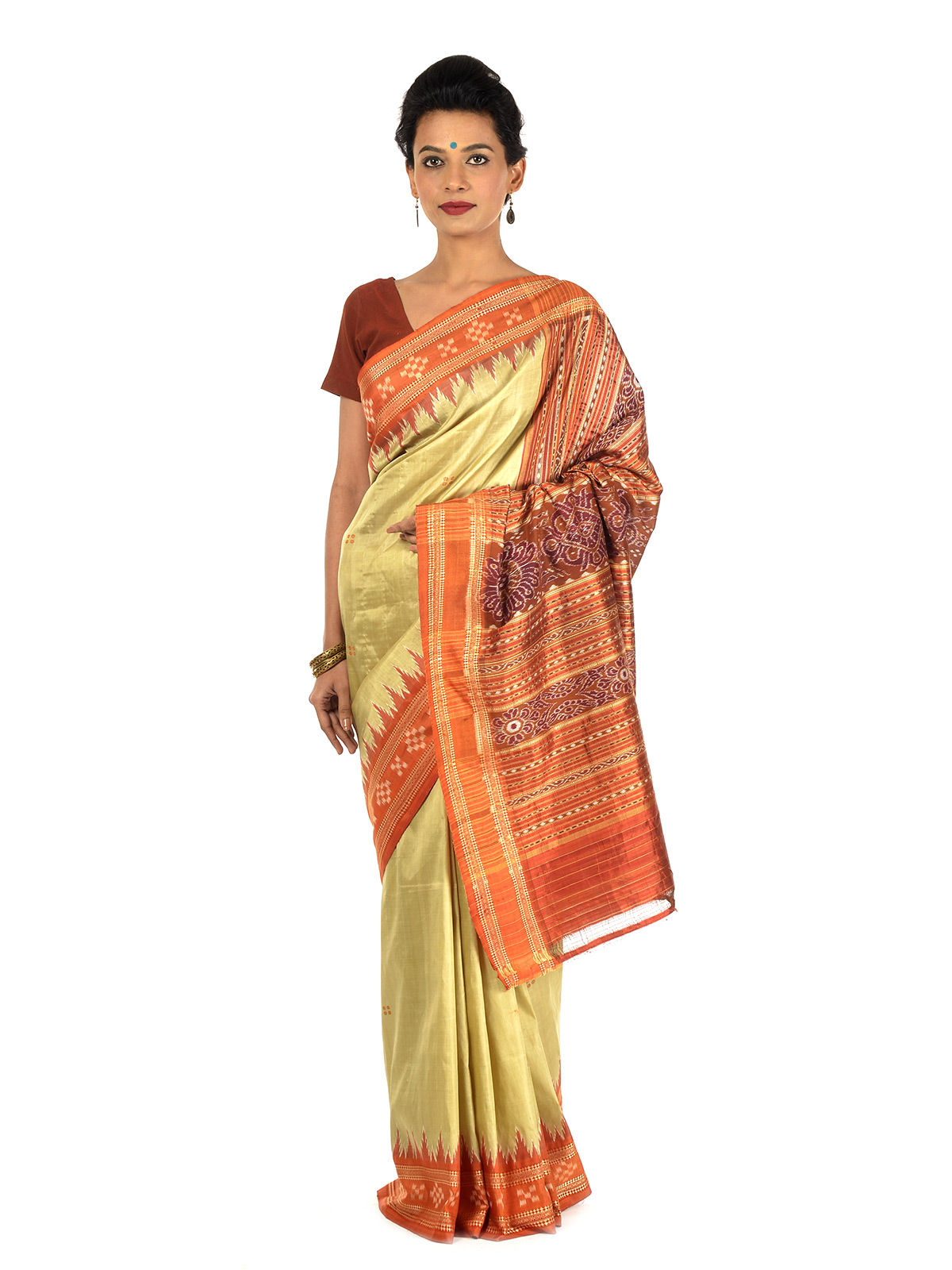Lime and Orange Ikat Silk Saree