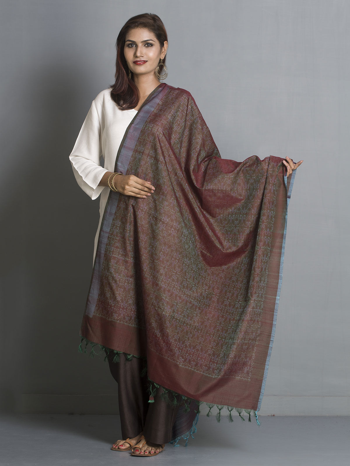 Brown and ehroon silk dupatta