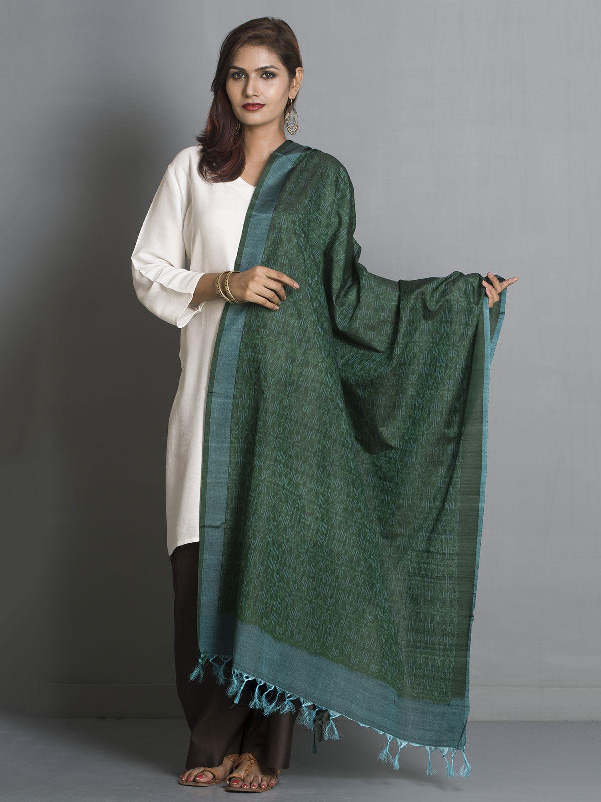 Dark green silk dupatta