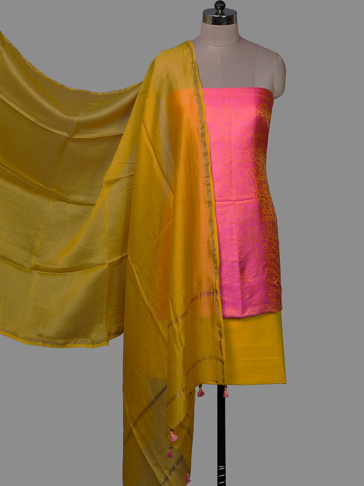 Pink  Banarasi Tanchoi Silk Unstiched Dress Material with Chanderi Dupatta