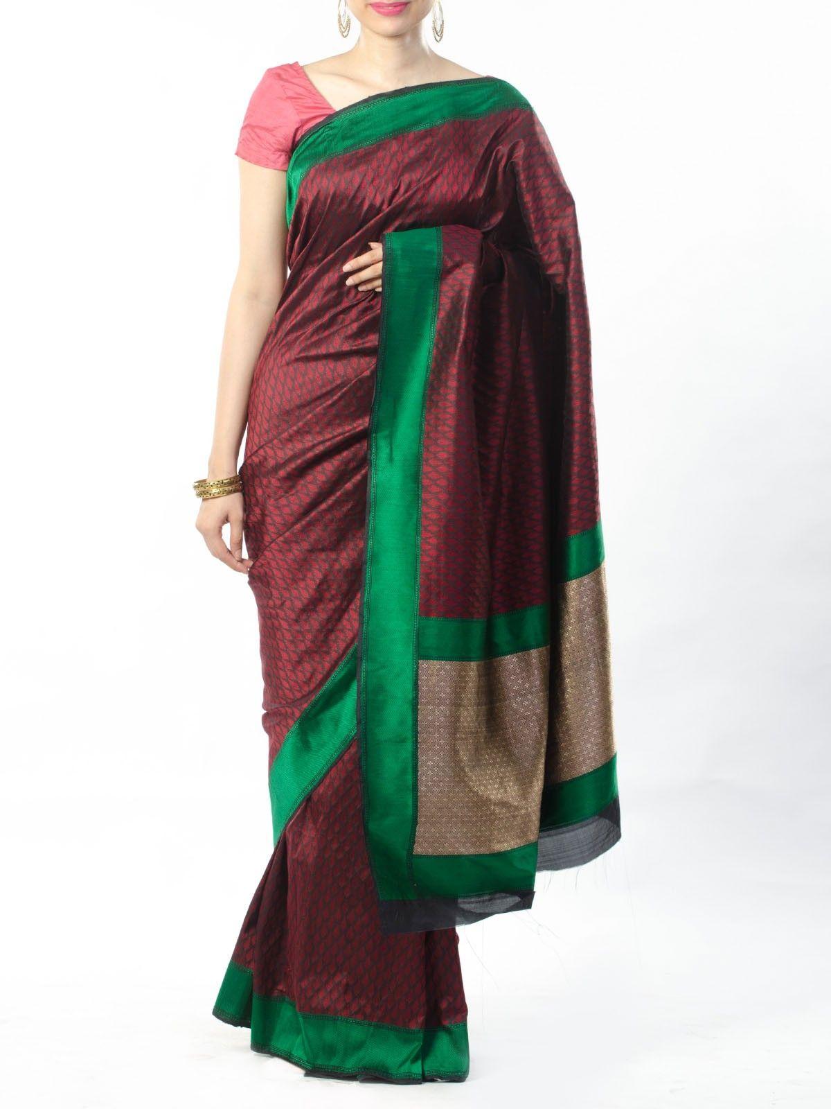Maroon-Black Tanchoi Saree with Zari pallu
