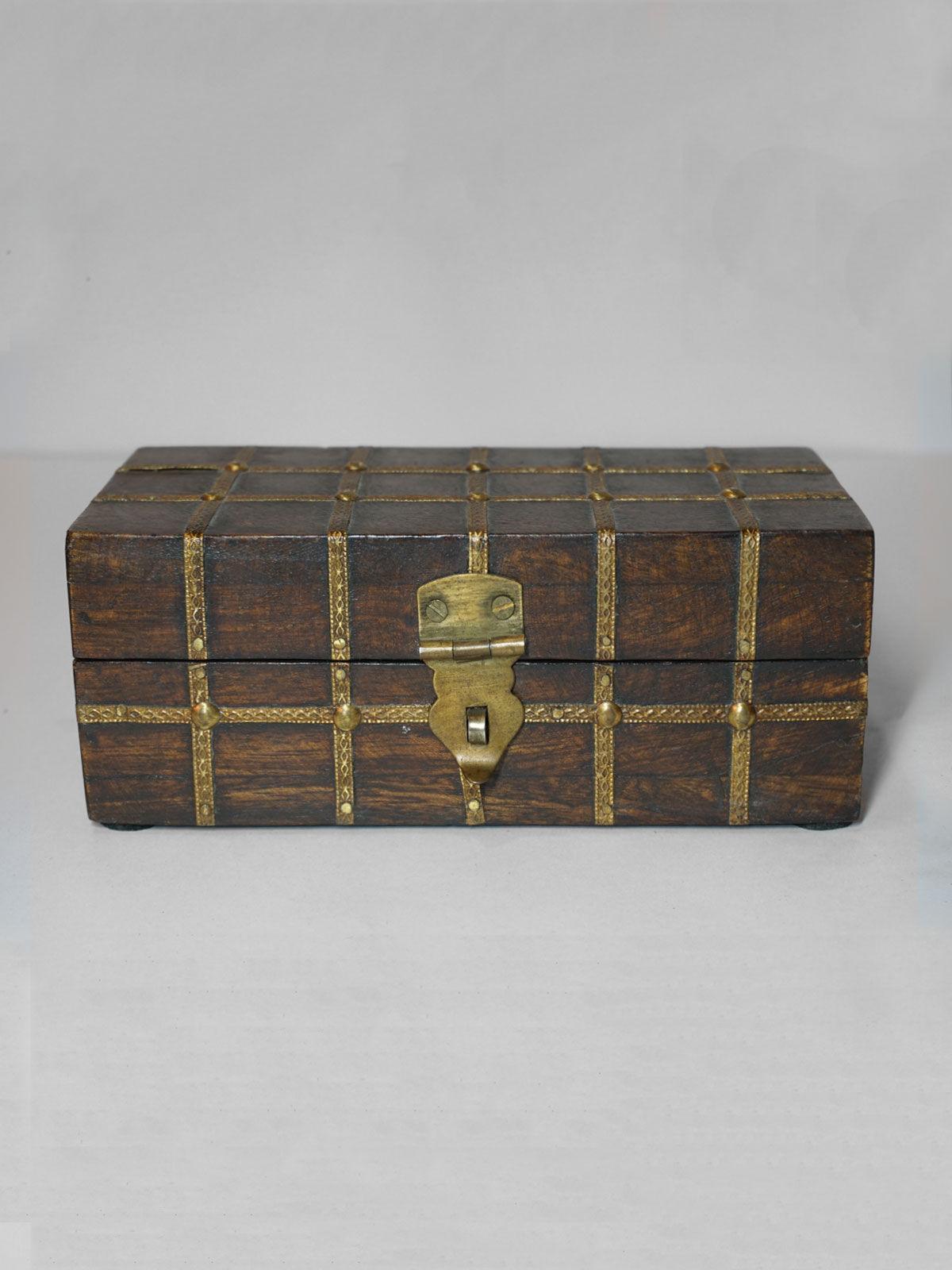 Wood And Metal Tressure Box