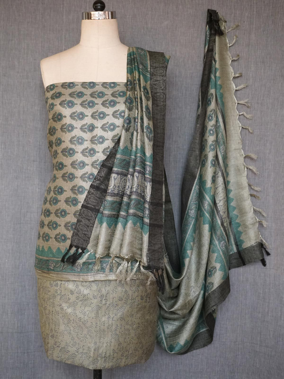 Multicolored tusser silk dress material with dupatta