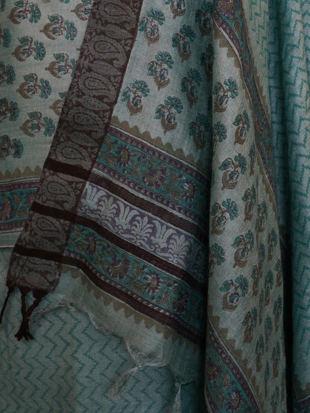 Green tusser silk dress material with dupatta