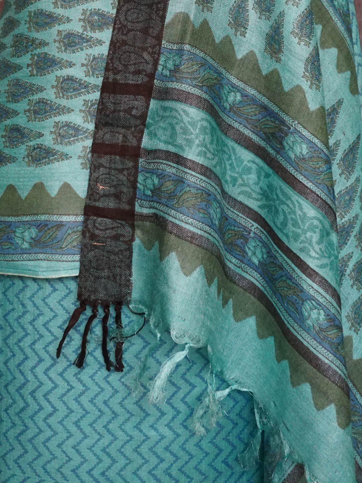 Blue tusser silk dress material with dupatta