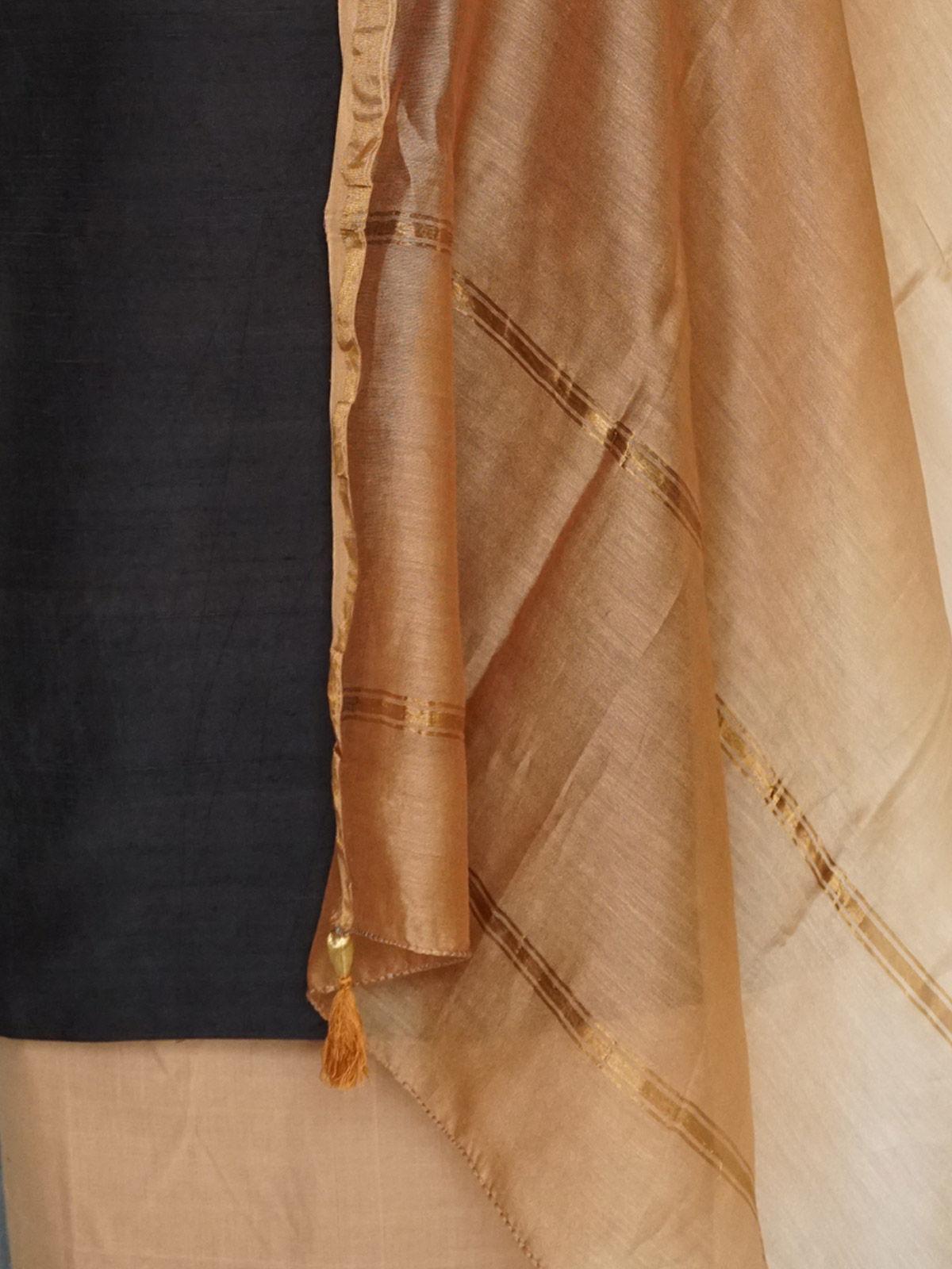 Black tusser kurta and cotton salwar dress material with dupatta