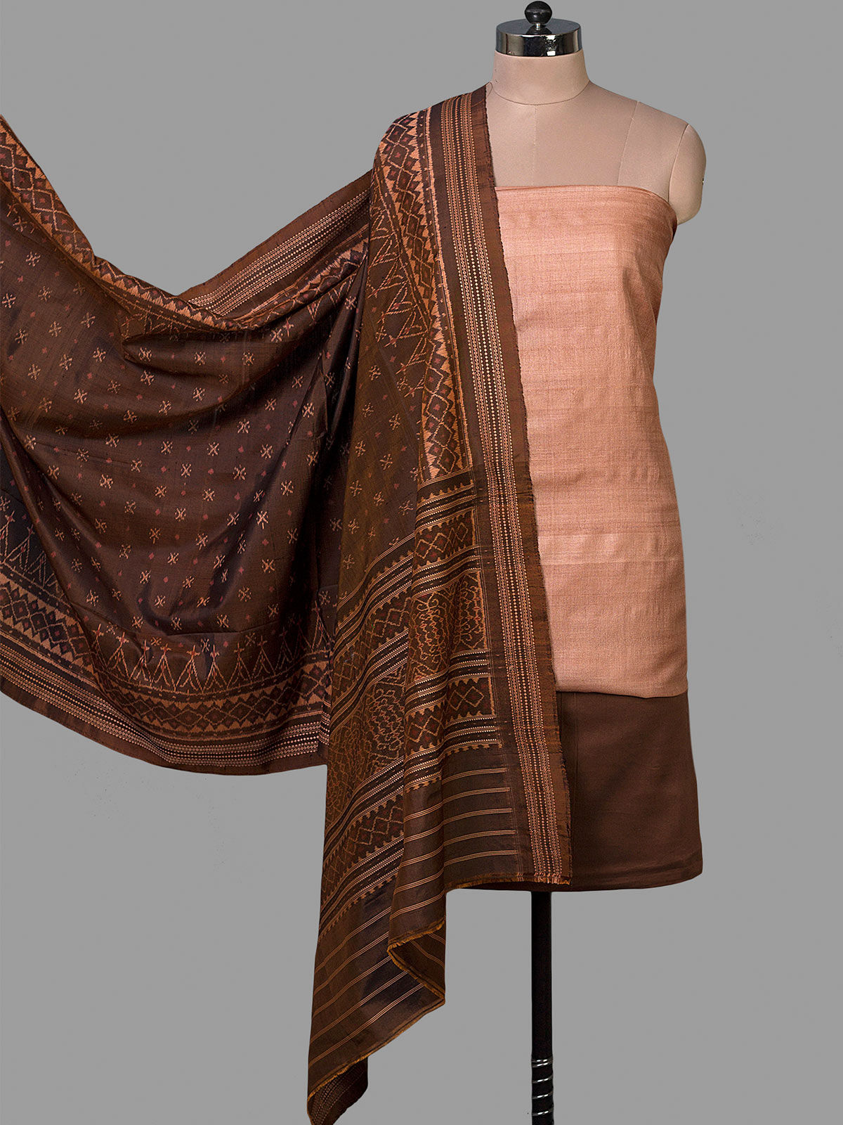 Black Tussar Silk Unstiched Dress Material with Ikat silk  Dupatta