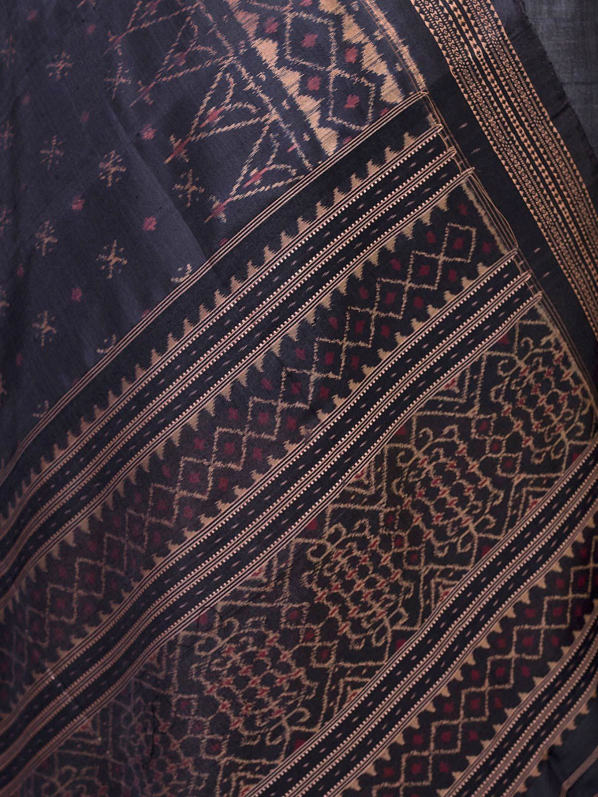 Maroon Tussar Silk Unstiched Dress Material with Ikat silk Dupatta