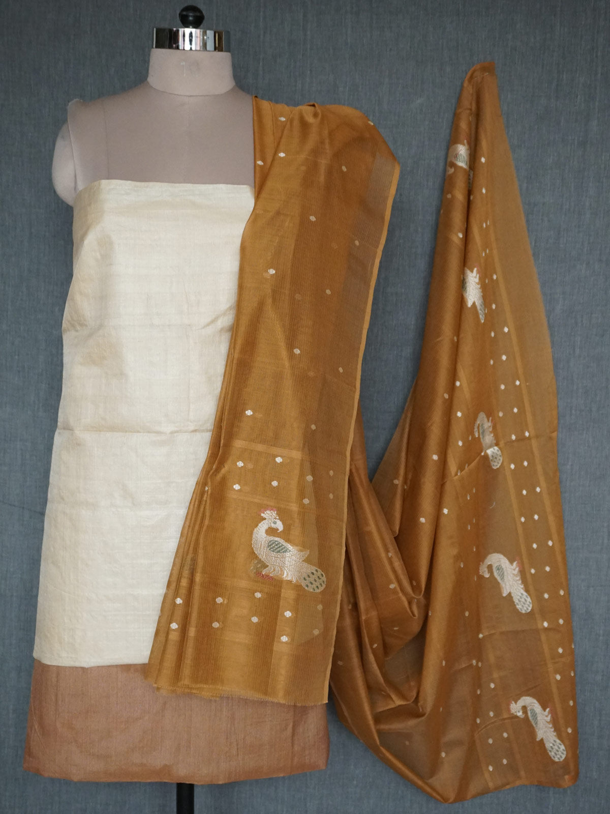Beige and Brown Tussar Silk Unstiched Dress Material with Maheshwari Dupatta