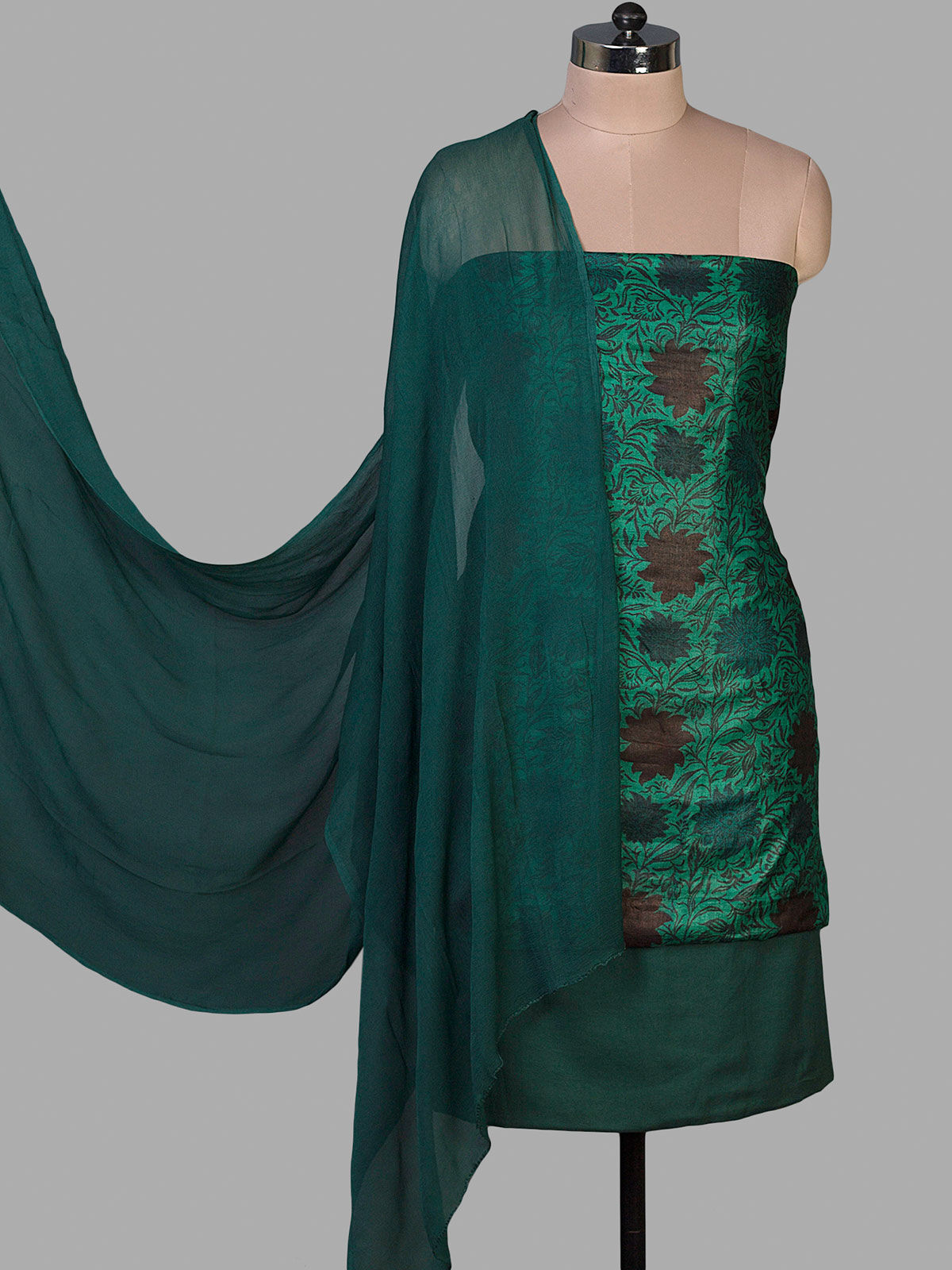 Green Tussar Silk Block Printed Unstiched Dress Material with Chiffon Dupatta