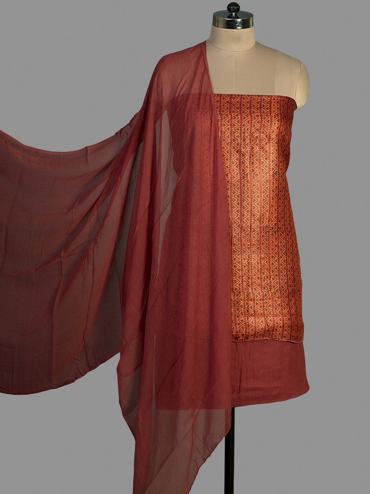 Orange Tussar Silk with Block Print Unstiched Dress Material and Chiffon Dupatta