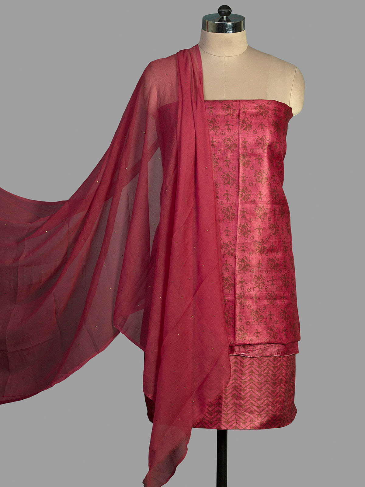 Pink Tussar Silk   Unstiched Dress Material with Block Print and Chiffon Dupatta