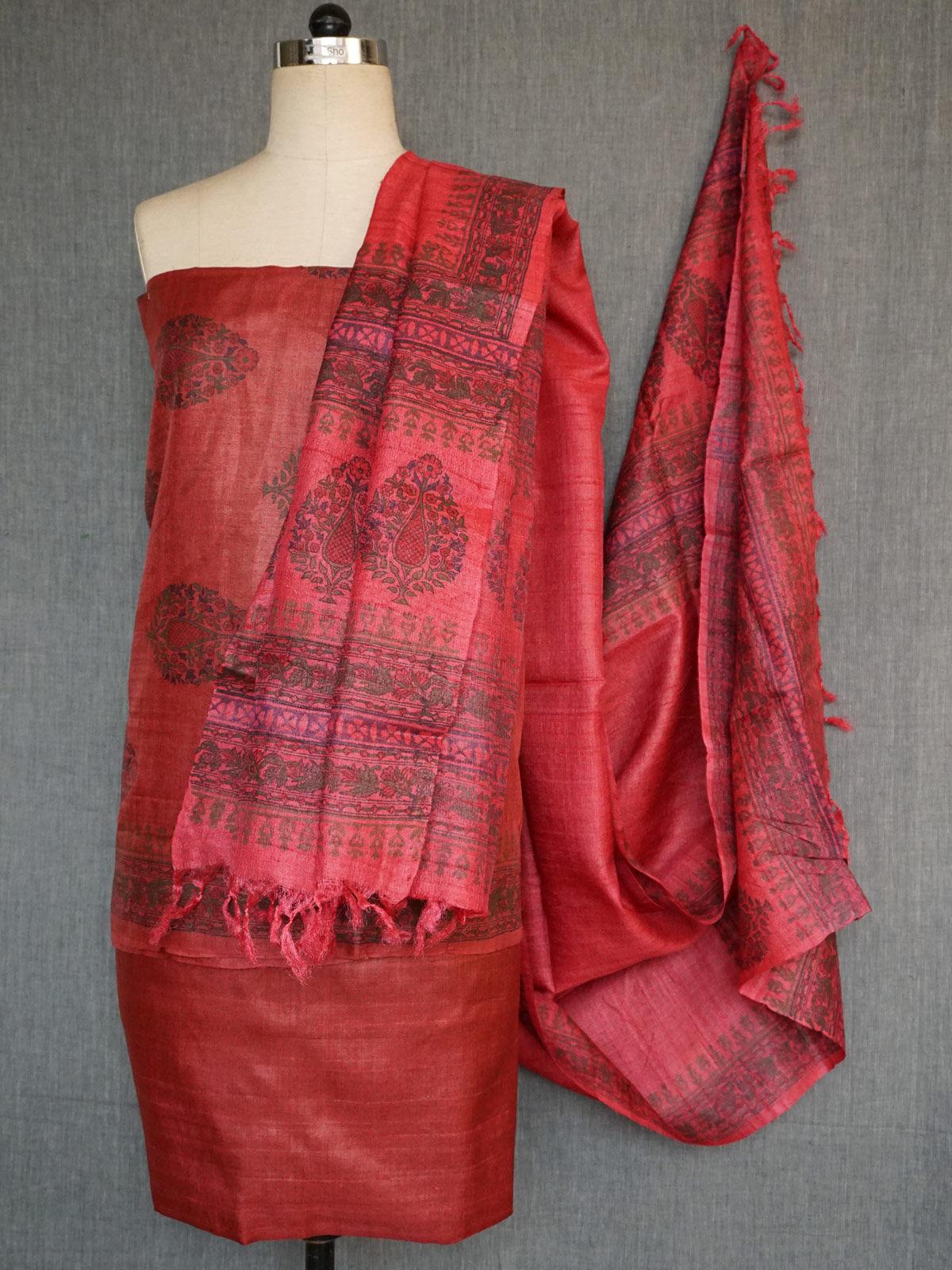 Maroon Tusser silk dress material with dupatta